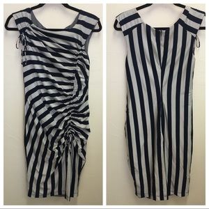 Eva Franco Black Tan Striped Ruched Dress Size 8